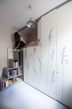 loft bed in a closet http://www.dailymail.co.uk/femail/article-2820589/Teeny-86sq-ft-Parisian-apartment-contains-foldaway-wardrobe-bed-staircase-bathroom.html