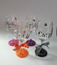 Personalized HandPainted Wine Glasses for by OrganizedBride, $10.00