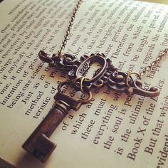The Sara Necklace  Antiqued Brass Key and Key by SeizeTheNight, $15.00