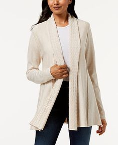 2e2586e6cdce9 Karen Scott Shawl-Collar Pointelle Cardigan