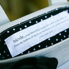 Personalized message inside a clutch. I love this idea for a bridesmaid/maid of honor gift!