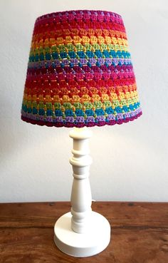 Crocheted bedside or desk lamp shade by BlackFishes on Etsy