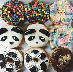 // don't let them steal your smile // Delicious Donuts, Delicious Desserts, Yummy Food, California Donuts, Colorful Donuts, Tumblr Food, Food Goals, I Love Food, Cravings