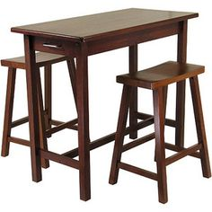 """kitchen island table and stools. table: 39"""" long, 19"""" wide, 33"""" high. stools: 24"""" high"""