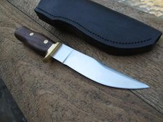 Just Handmade / Custom Knives - Listings View Hunting Knife D2 Steel Blade Ironwood Handle With Leather.       #handmade #knives #customknives