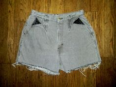 Vintage Denim Cut Offs - Vintage 80s/90s Black/White Striped Denim Jean Shorts - High Waisted Cut Off/Frayed Shorts - Sale - Large L - 12. $10.00, via Etsy.