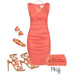 A fashion look from July 2015 featuring v-neck dresses, ankle strap sandals and mini bag. Browse and shop related looks. Dressy Outfits, Cute Outfits, Sexy Dresses, Fashion Dresses, Elegantes Outfit, Love Fashion, Womens Fashion, Dress For Success, Office Fashion
