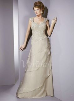 Mother of the Bride Dresses - $152.99 - A-Line/Princess Sweetheart Floor-Length Chiffon Mother of the Bride Dress With Lace Beading Cascading Ruffles (00805007158)