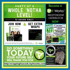 - ATTENTION PLEASE - I Have GREAT NEWS For You - 72 Hours ONLY -   If you have EVER thought about joining my team with It Works! as a Distributor the TIME to Join is NOW!! Because if YOU Join the Party ALL New Distributors that buy our $99 New Business Builder Kit will also get an extra box of FREE wraps! Now How Awsome is that!!!