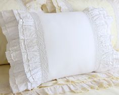 White Cotton Ruffle Cotton Eyelet Lace Pillow Sham Pillowcase Victorian Shabby Cottage French Parisian Wedding gift - Best of Wallpapers for Andriod and ios Pillow Shams, Pillow Cases, Ruffle Pillow, Throw Pillow, Bed Pillows, Crochet Pillow, Bed Linens, Parisian Wedding, Chic Bedding