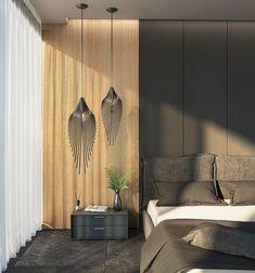 Loomiosa Leaf 97 & 72 in black - bedroom set Black Bedroom Sets, Pendant Lamp, Light Fixtures, Landscape, Interior, Furniture, Home Decor, Scenery, Decoration Home