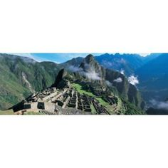High angle view of ruins of ancient buildings Inca Ruins Machu Picchu Peru Canvas Art - Panoramic Images (15 x 6)