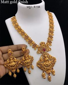 Temple jewellery available on 1 Gram Gold Jewellery, Temple Jewellery, Bridal Jewellery, Gold Jewelry, Jewelery, Ruby Necklace, Gold Earrings, Manubhai Jewellers, Gold Designs