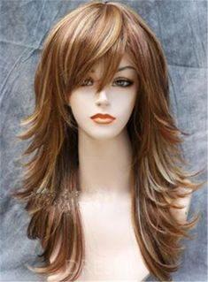 Ericdress Long Mixed Color Layered Side Wavy Hairstyle Synthetic Hair Capless Wig 18 Inches - New Site Long Layered Haircuts, Straight Hairstyles, Hairstyles With Bangs, Layered Hairstyles, Hairstyle Ideas, Long Shag Hairstyles, Haircuts For Long Hair With Layers, Wavy Haircuts, Choppy Layers For Long Hair