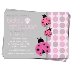NOT in pink, but these are cute! Ladybug Baby Shower Girl Invitations Printable Design. $13.00, via Etsy.