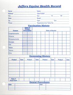 Horse health care record