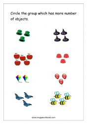 Math Worksheet - Circle The Group With More Number of Objects (1 to 5)