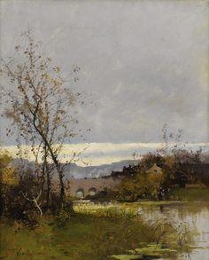 Река в Нормандии  (45.7 х 38.1 см). Eugene Galien-Laloue