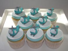 Helicopter Cupcakes by Beach House Bakery Fondant Cake Toppers, Fondant Cupcakes, Fondant Figures, Cupcake Cakes, Vanilla Cupcakes, Cup Cakes, Helicopter Cake, Helicopter Birthday, Ballerina Cakes