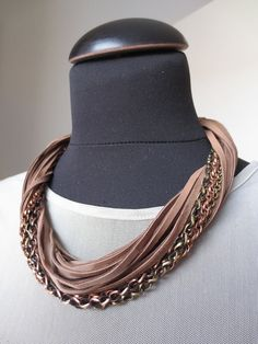 Brown Leather Necklace Genuine Leather Jewelry Metal by Kostimusha
