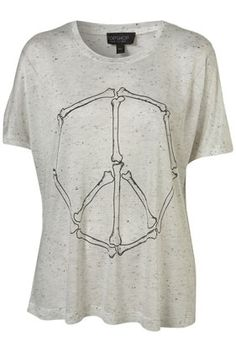 White Speckled Peace Bones Print Tee - StyleSays