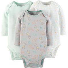 Child Of Mine by Carter's Newborn Baby Long Sleeve Bodysuit, 3 Pack - Walmart.com