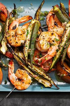 Okra Recipes, Jalapeno Recipes, Lime Recipes, Kebab Recipes, Shrimp Recipes, Clean Eating Recipes, Cooking Recipes, Kebabs On The Grill, Grilled Peaches