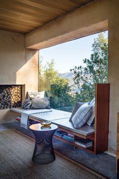 Window seat in a Napa Valley weekend house; window nook
