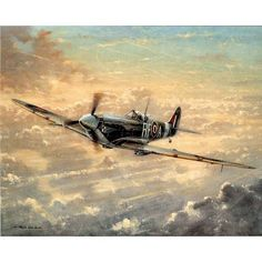 RAF Spitfire WW II Art Print POSTER Battle Britain UK - 11x17 custom fit with RichAndFramous Black 17 inch Poster Hangers
