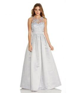 Grey Lace Sweetheart Satin Maxi Dress