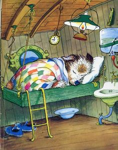 "Scuppers asleep at sea: Illustration by Garth Williams from ""The Sailor Dog"" by Margaret Wise Brown Garth Williams, Art And Illustration, Book Illustrations, Art Mignon, Margaret Wise Brown, Children's Picture Books, Vintage Children's Books, Dog Art, Cute Art"
