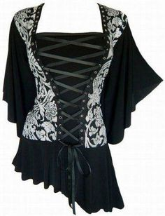 I found 'Gothic Victorian Butterfly Sleeves Corset Plus Top' on Wish, check it out!