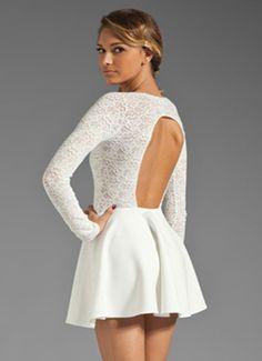 Fashion round neck backless lace dress