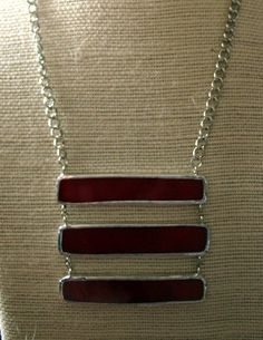 Red Stained Glass Necklace by Wilcoxstainedglass on Etsy