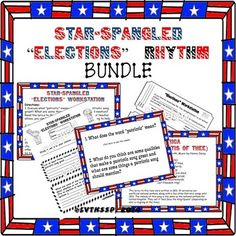 "You get all 94 pages of the ""Star-Spangled Banner"" Rhythm Workstations kit and the ""Star-Spangled Banner"" Elections Bundle kit (includes the Smartboard version as well in Notebook form).Save 10% by purchasing this as a bundle.Other Star-Spangled Banner products available: Star-Spangled Banner Coloring Pages Star-Spangled Banner Go Fish GameStar-Spangled Banner RapMemorial Day Worksheets for Music"