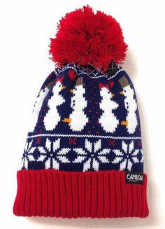 4d40593c34808 Funny HORNY SNOWMAN BONER POM BEANIE Ugly-Sweater-Knit Winter Christmas  Mens NEW  Carbon  Beanie