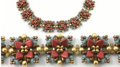 Art Nouveau style beacelet beading tutorial - Red Lava dragon scale beads : www. Bead & Button classes June 2016 (scroll down to - Seed Bead Bracelets, Seed Bead Jewelry, Seed Beads, Beaded Bracelet Patterns, Beaded Earrings, Art Nouveau, Super Duo, Necklace Tutorial, Chokers