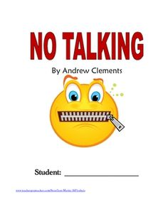 No Talking (Andrew Clements) Novel Study / Reading Comprehension ...