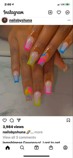 Classy Acrylic Nails, Acrylic Nails Coffin Pink, Short Square Acrylic Nails, French Acrylic Nails, Exotic Nail Designs, Cute Acrylic Nail Designs, Drip Nails, Glow Nails, Exotic Nails