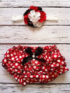 Baby bloomer, red with white polka dot bloomer, minnie mouse, baby girl bloomer, diaper cover, baby girl clothing, baby headband separate