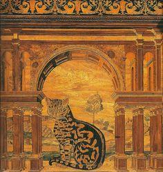 Raffaele da Brescia (1479-1539) - Choir's desk (detail), 1507 - Inlay work - Abbey of Monte Oliveto Maggiore, Siena, Italy