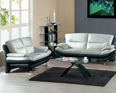 Grey & Black Leather leather Sofa + Loveseat