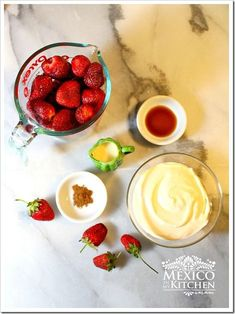 strawberries and cream fresas con crema #ingredients #mexicanfood #strawberries