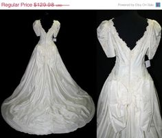 ON SALE Vintage Wedding Gown 80s Lace Bow by ForeverAfterVintage, $97.48