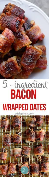 Bacon Wrapped Dates Recipe - These 5-ingredient bacon wrapped dates are out of this world delicious and so easy! // addapinch.com