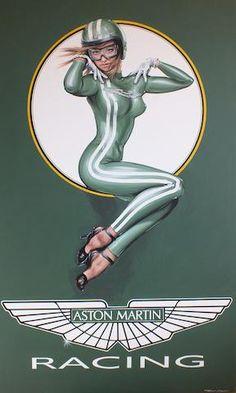 Tony Upson, Aston Martin Racing Girl, 16 Gorgeous Female Race Car Drivers That are Hotter Than Danica Patrick Vintage Advertisements, Vintage Ads, Vintage Posters, Pin Up Posters, Car Posters, Up Auto, Garage Art, Garage Interior, Automotive Art