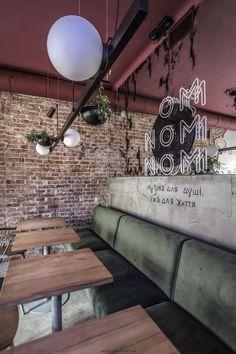 Image 15 of 17 from gallery of OMNOMNOM Vegan Cafe / replus design bureau. Photograph by Dmytro Sorokevych Bistro Interior, Restaurant Interior Design, Modern Interior, Rustic Coffee Shop, Rustic Cafe, Design Café, Cafe Design, Cat Ideas, Loft Cafe