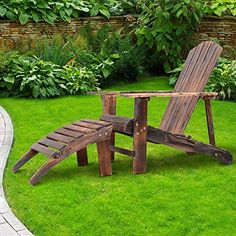 Summer Sale Outsunny Wooden Lounger Chair Premium Steamer Beach Sun Patio Garden Pool w/Footrest