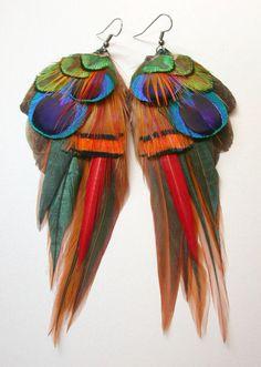Feather earrings.