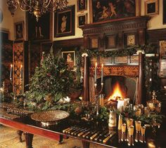 How I picture Hartland Manor at Christmas, Uncle Charles's country home (Country House in Worcestershire ready for Christmas featured in Classic Entertaining by Henrietta Spencer-Churchill) Diy Christmas Balls, Noel Christmas, Victorian Christmas, Christmas Decorations, Christmas Christmas, Vintage Christmas, Christmas Buffet, Old World Christmas, Christmas Brunch